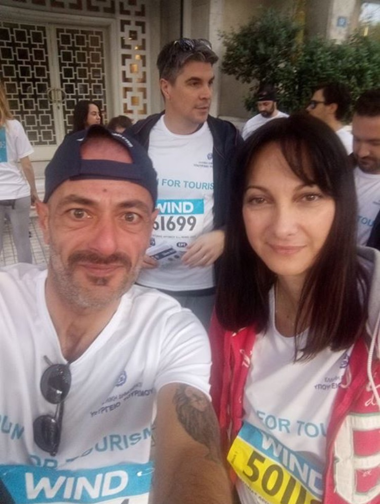 Η Υπουργός Τουρισμού Ελενα Κουντουρα με τον αντιπρόεδρο της Aldemar Resorts Αλέξανδρος Αγγελοπουλος .