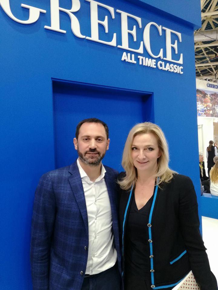 Ο πρόεδρος της TEZ TOUR Ελλάδος Δημήτρης Χαριτίδης με την Αντιπρόεδρο του ΕΟΤ Αγγελική Χονδροματίδου που και φέτος έχει δώσει τον καλύτερο εαυτό της για τον Ελληνικό τουρισμό, τόσο στην ΙΤΒ όσο και στην Mitt 2018
